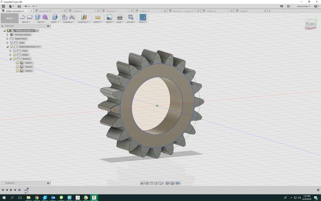 Rotița in programul de proiectare 3D