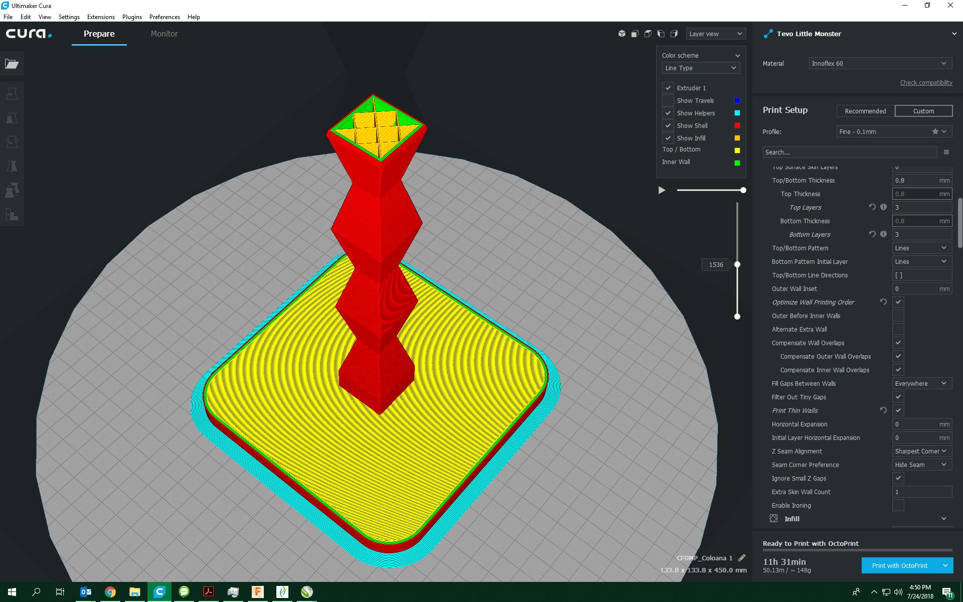 Secțiune de print 3D în modelul Coloanei